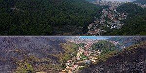 Marmaris'te Felaketin Boyutlarını Gözler Önüne Seren Yangın Öncesi ve Sonrası Çekilen Görüntüler