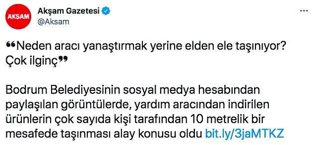 """Çok geçmeden Akşam Gazetesi bu görüntüyü alıp """"CHP'li Bodrum Belediyesi alay konusu oldu"""" başlığıyla haber yapmış."""