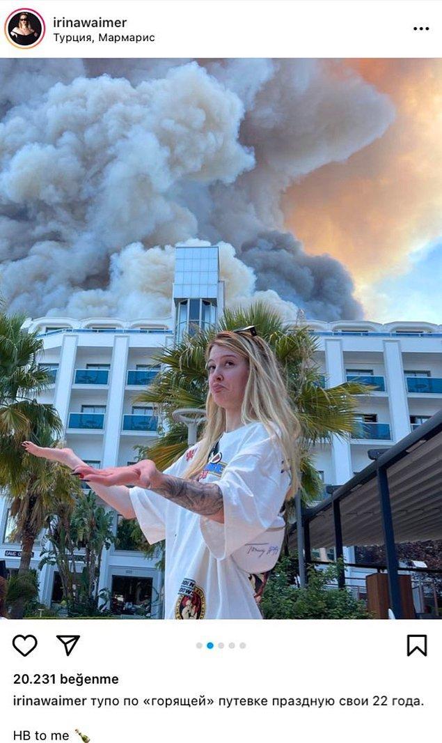 Şarkıcı, tatil için geldiği Türkiye'de yangının önünde fotoğraf çekerek doğum gününü kutladı.