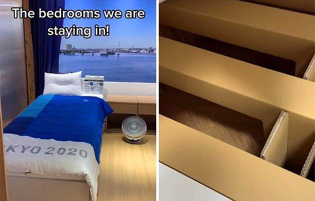 İnsanlar, yatakların gerçekten kartondan olup olmadığını merak ediyordu ve gerçekten öyleymiş ama Cody, yatakların onları tutacak kadar güçlü olduğunu gösteriyor.