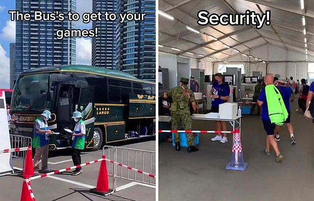 Sporcular, özel otobüslerle stadyuma götürülüyor ve güvenlik kontrolü yapılıyor.
