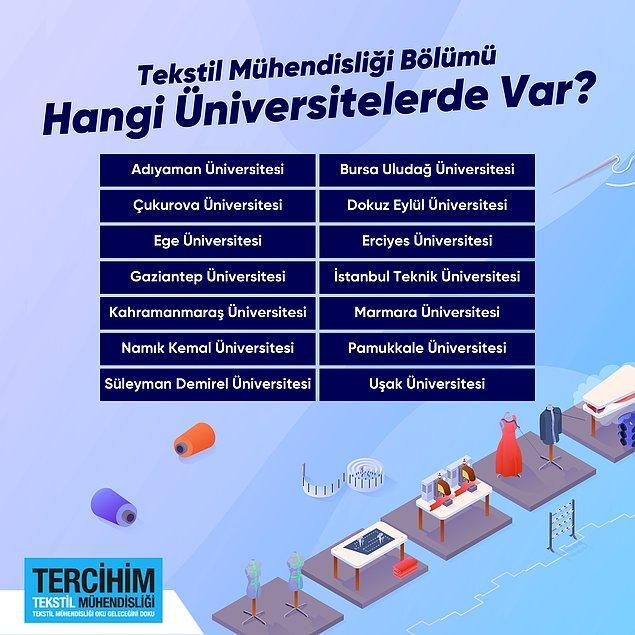 3. Hangi üniversitelerde tekstil mühendisliği var?