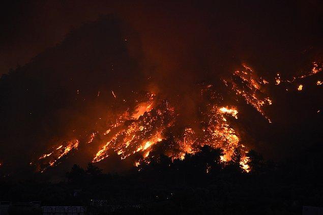 08:07 Milas'ta yangın yeniden başladı.