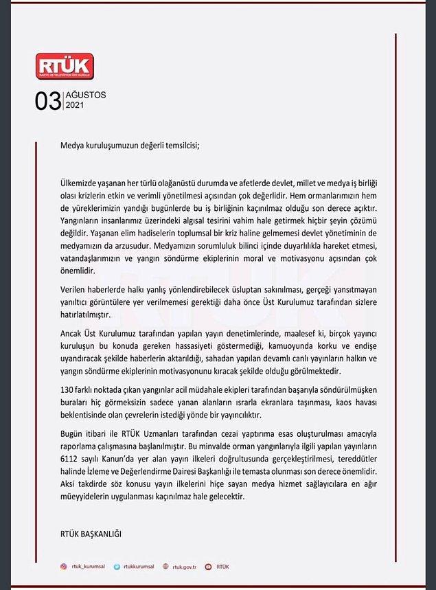 Ege ve Akdeniz çığlıklar içinde ayakta kalmaya çalışırken ve Türk medyası alanlardan çok az görüntü paylaşırken RTÜK'ten tepkileri çeken bir hamle geldi. RTÜK, yangın haberlerinin yapılmasını yasakladı ve yayın yapan kuruluşların ağır şekilde cezalandırılacağını belirtti.
