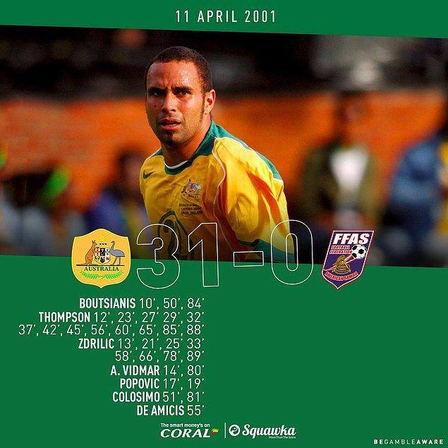 8. 2001`de Sydney`de oynanan maçta Avustralya, Samoa`yı 31-0 gibi tarihi bir skorla yendi. Archie Thompson ise 13 golle zor bir rekorun sahibi oldu.