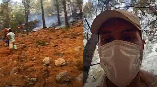 10. Alperen Duymaz ilk günden beri yangın bölgelerinde saha çalışanlarına yardım etmeye devam ediyor.