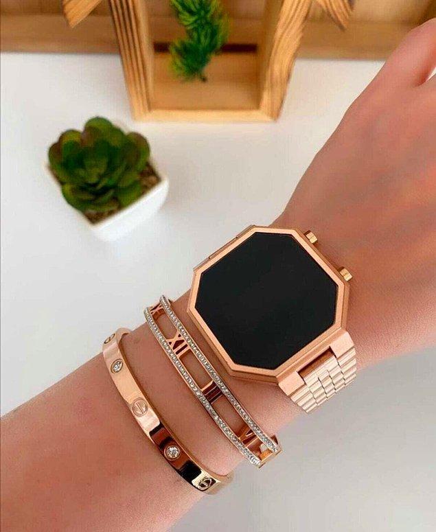 8. Çelik kasa dijital saatleri takılarınızla kombinleyebileceğinizi unutmayın!