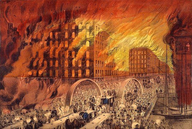 Aynı gece çok yakındaki Chicago'da tarih kitaplarında yerini alan bir yangın çıktı.