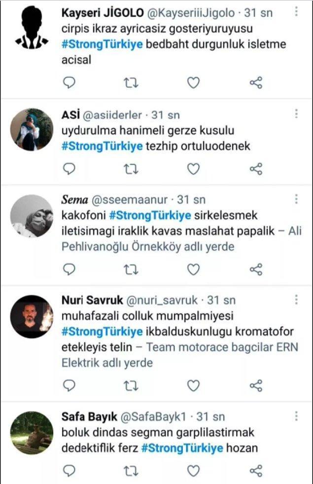 Daha sonra Fahrettin Altun tarafından karşıt bir etiket oluşturuldu. #StrongTürkiye isimli etiket bot hesaplardan basılarak gündem haline getirildi.