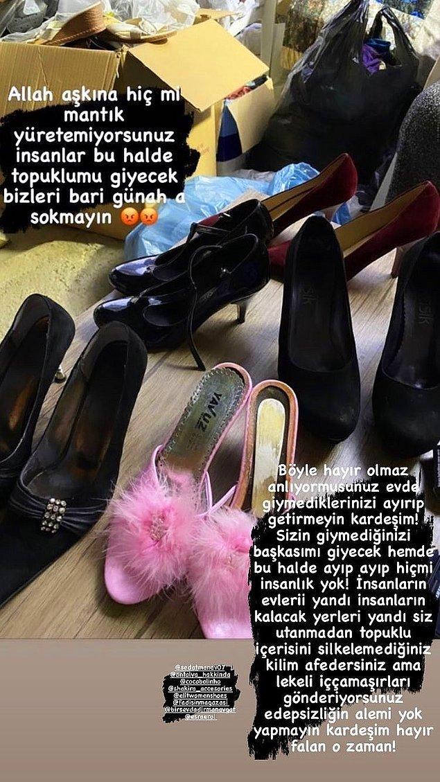 Manavgat'a yollanan yardım kolisinin içinden çıkan topuklu tüylü terlik, topuklu ayakkabılar, temizlenmemiş kilim ve kullanılmış iç çamaşırları...