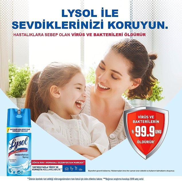 8. Virüs ve bakterileri öldüren Lysol dezenfektan spreyini ister tuvalette ister mutfakta kullanabilirsiniz. Hatta mama sandalyesi temizliğinde bile.