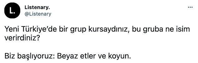 Twitter'da 'listenary' adlı bir kullanıcı takipçilerine 'Yeni Türkiye'de bir grup kursaydınız, bu gruba ne isim verirdiniz?' diye sorunca ortaya birbirinden ironik ve mizah dolu yanıtlar çıktı. Buyrun birlikte bakalım: