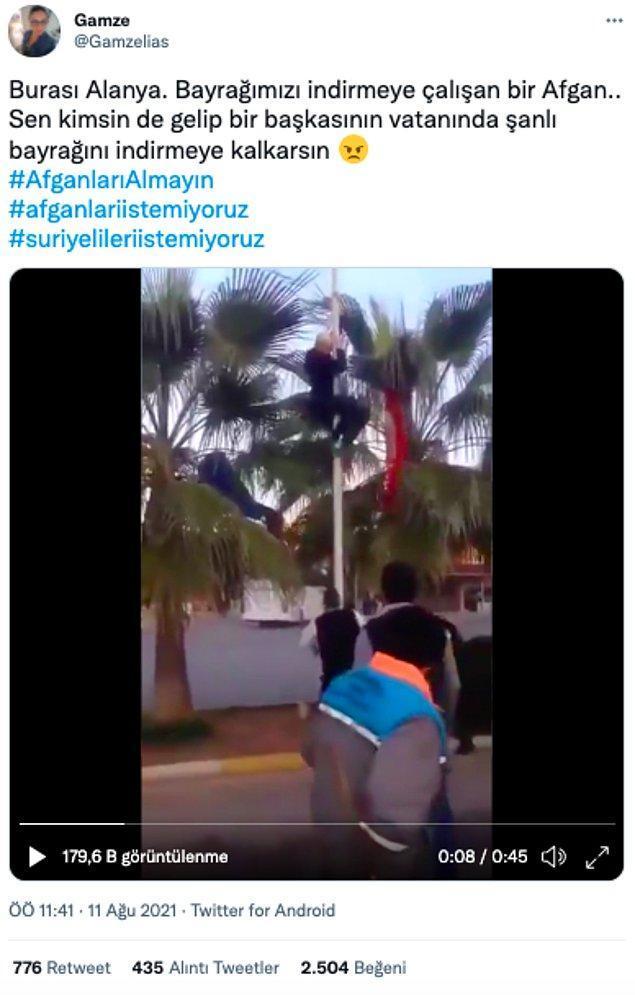 Bir diğer videoda Alanya'da Türk bayrağını indiren Afgan göçmenin bulunduğu, ayrıca olayın 2021'de gerçekleştiği iddiası vardı.