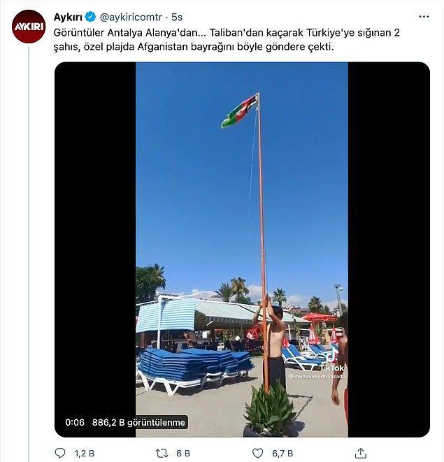 Yüzlerce hesapta paylaşılan bir video da Antalya'daki bir tesiste Afganistan bayrağı çekildiğiydi.