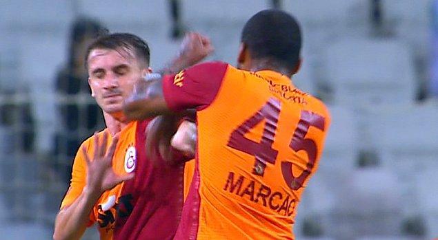 Mücadelenin 61. dakikasında sarı-kırmızılı takımın iki oyuncusu Marcao ve Kerem Aktürkoğlu arasında bir tartışma yaşanırken, Marcao takım arkadaşına kafa ve yumruk attı.