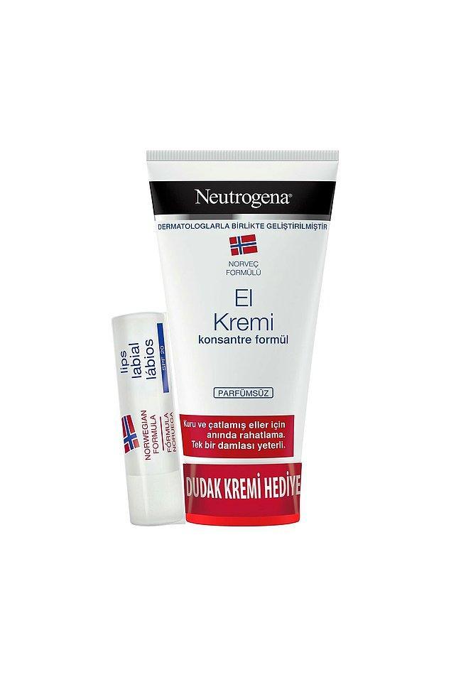 2. Neutrogena el kremi de şu anda hem indirimde hem de güneş koruyuculu dudak kremi hediyeli! Parfümsüz el kremi arayanlar için...