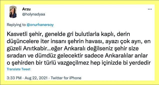 Ankaralı olmanın, Ankara'yı sevmenin, Ankara'nın özeti bu galiba.