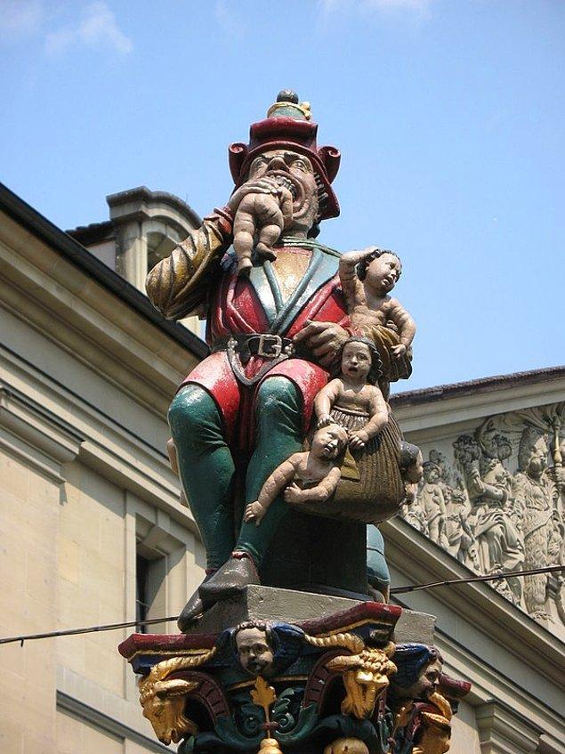 26. Başkent Bern'de bebekleri yiyen bir adamın heykeli var. Kimse bu heykelin anlamını bilmiyor.