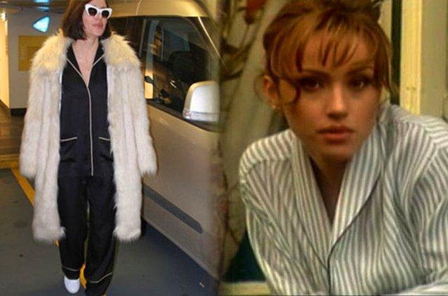 Başarılı sanatçı bu klibinden uzun yıllar sonra kameralara yine pijamalarıyla yakalandı