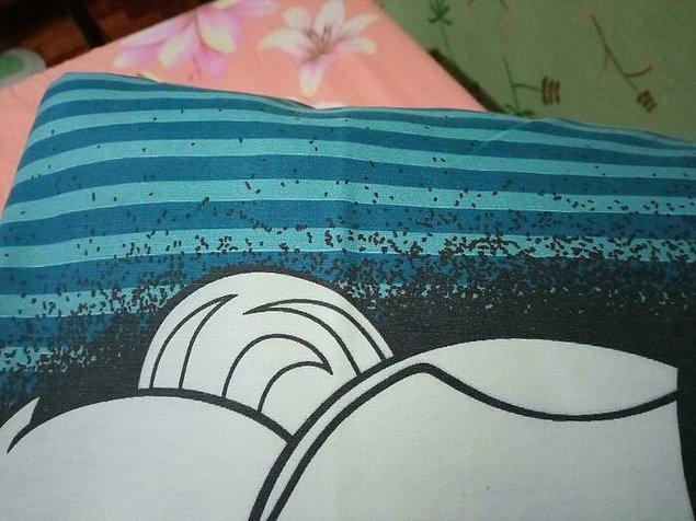 25. Bu yastık kılıfının tasarımı üzerini karınca kaplamışa benziyor.