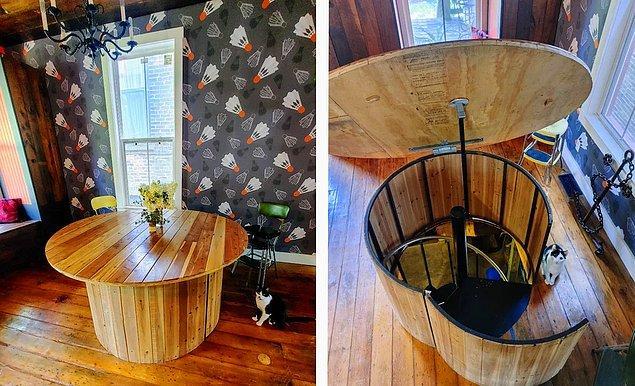 6. Altında gizli merdivenler olan masa, tam bir tasarım harikası: