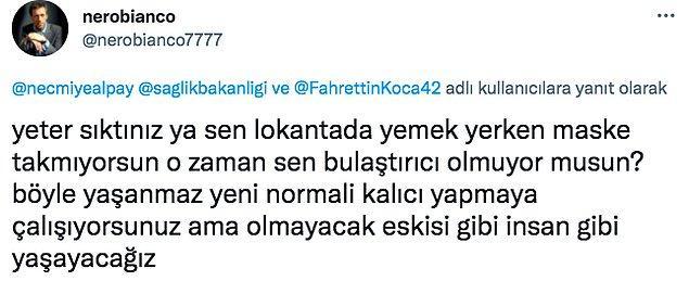 Bu paylaşımın ardından da insanlar Necmiye Alpay'a epey bi tepki gösterdi. Özellikle Fahrettin Koca'ya şikayet etmesi kullanıcıları sinirlendirdi.