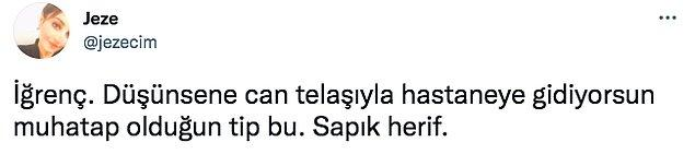 """Twitter'da """"@jezecim"""" isimli kullanıcının paylaşımının ardından sağlık çalışanına tepki yağdı haklı olarak ve bazı insanlar da meslekten atılması gerektiğini söyledi."""