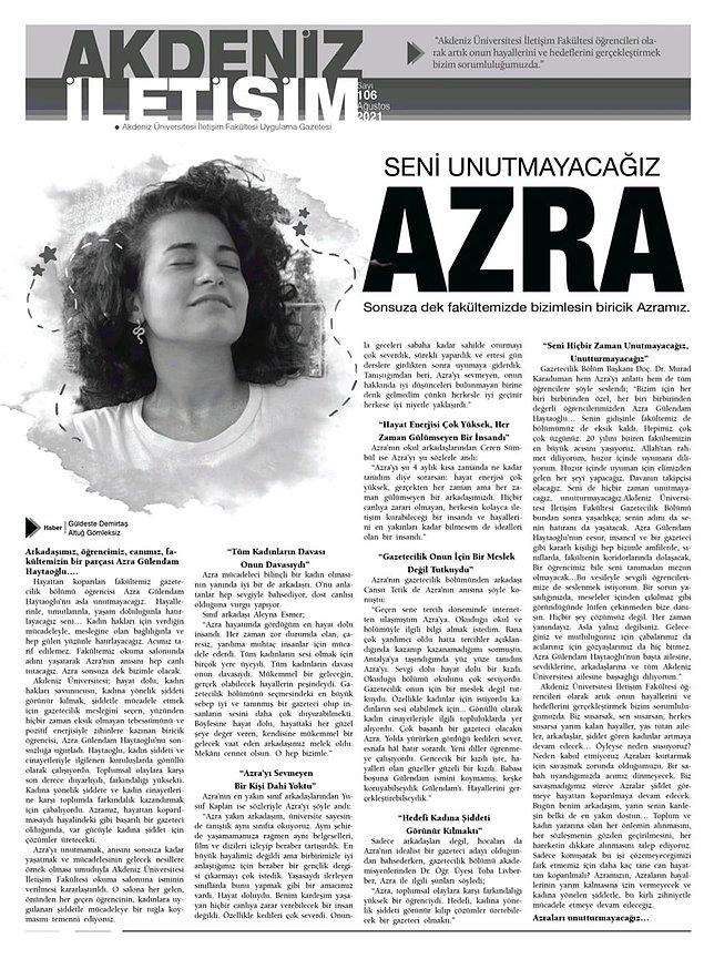 Arkadaşları çıkardıkları gazeteyi Azra'ya adadı