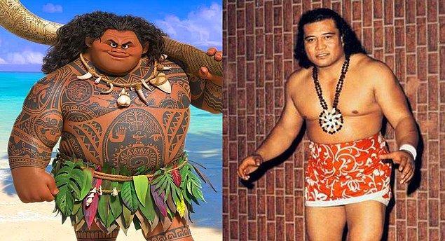 6. 'Moana' animasyonunda The Rock'ın seslendirdiği karakter Maui, gerçek hayatta The Rock'ın büyükbabası Peter Maivia'dan esin alınarak yaratılmış.