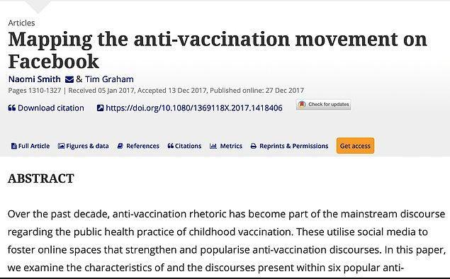 Facebook'un aşı karşıtlığında yaptığı öncülük akademik çalışmalarda bile yer buluyor.