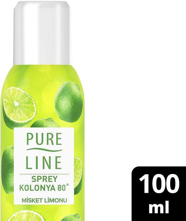 15. Pureline sprey kolonya, pratik kullanım sağladığı için tercih edilenlerden.