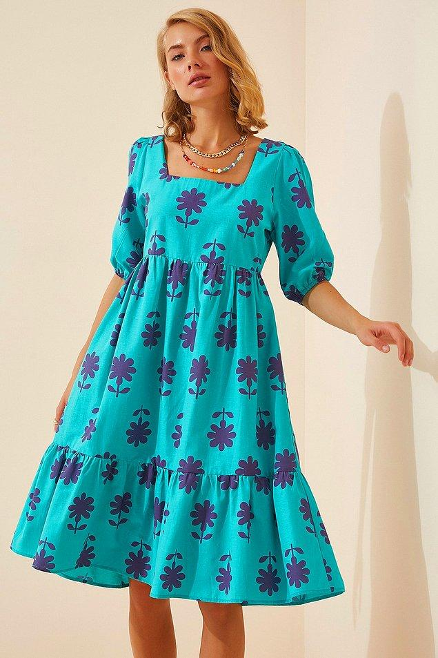 7. Kare yaka elbise sevenlere cıvıl cıvıl bir seçenek!