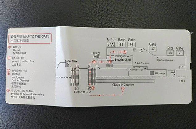 7. Seoul havalimanlarında uçak biletlerinin arkasında bineceğiniz kapının haritası bulunuyor.