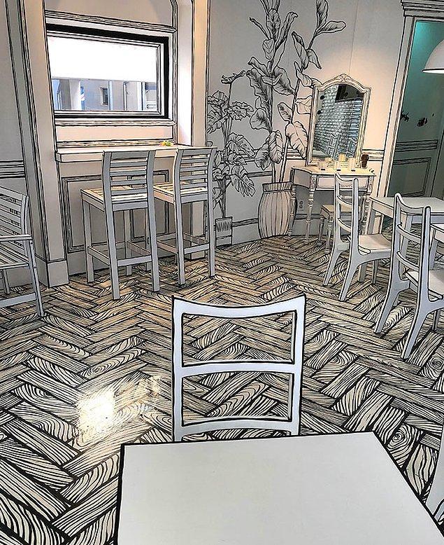 25. Seoul'daki bu 2 boyutlu kafe, gerçeklik algınızla oynuyor.