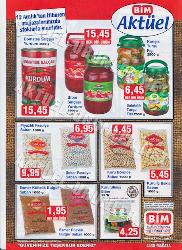 Burada görmüş olduğunuz salça fiyatı şu an 45 TL, şeker fasulye 30 TL, esmer bulgur fiyatı ise ortalama 8,5 TL