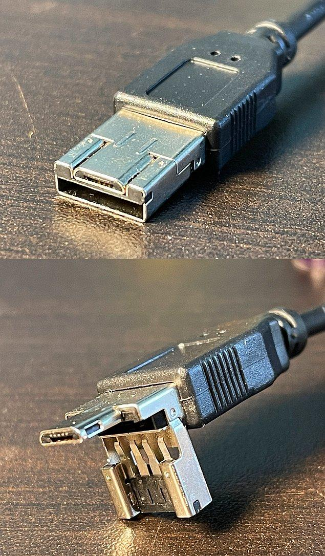 """14. """"Girişi kolayca değişebilen bir USB kablosu buldum"""""""