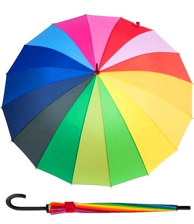 2. Üzerinde 16 farklı renk bulunan gökkuşağı şemsiye.