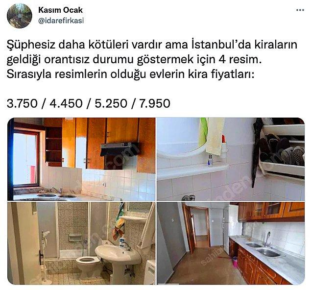 Ancak bu konuda İstanbul aldı başını gidiyor. Asgari maaşla çalışan ortalama bir vatandaşın bırakın evin market alışverişini, suyunu, elektriğini karşılamasını yalnızca evin kirasını ödemesi bile gün geçtikçe imkansız hale geliyor.
