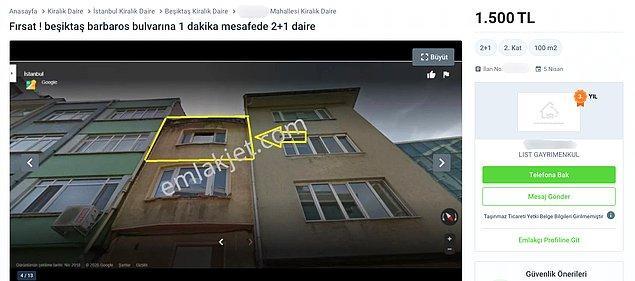 Şimdi sizleri Beşiktaş'ta Barbaros Bulvarı'na yakın 2+1 bir daireye götürelim. İlana göre daire 2+1, 100 metrekare. Kirası da 1500 TL.