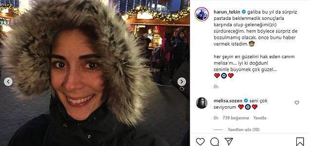 Magazinden uzak olsalar da sosyal medyada aşklarını ilan etmekten çekinmiyor çiftimiz. Beraber sık sık paylaşım yapan Melisa Sözen ve Harun Tekin, birbirlerine yazdıkları notlarla iç ısıtıyor.