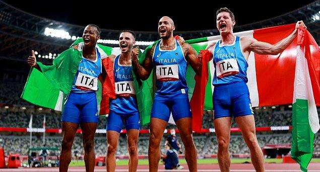5. 2020 Tokyo Olimpiyat Oyunları'nda erkekler 4x100 metre bayrak yarışı 🥇