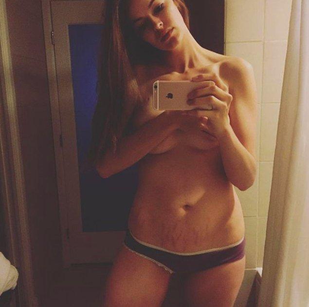 14. Bir diğer büyük beden modeli Robyn Lawley, çatlaklarını kaplan çizgilerine benzettiğini söyledi.