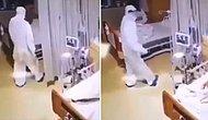 Hasta Yatağında Yatarken Yanına Tulumla Gelen Sağlık Çalışanından Korkan Kadının Çığlık Çığlığa Kaldığı Anlar