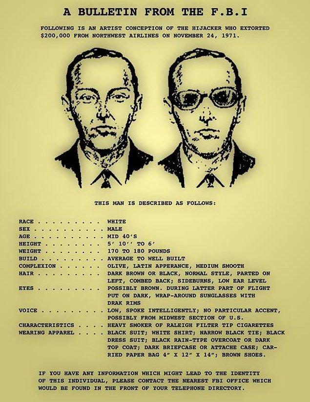 Tarihler 24 Kasım 1971'i gösterdiğinde D.B. Cooper takma isimli bir adam, Portland'dan Seattle'a tek yönlü bir uçak bileti aldı.