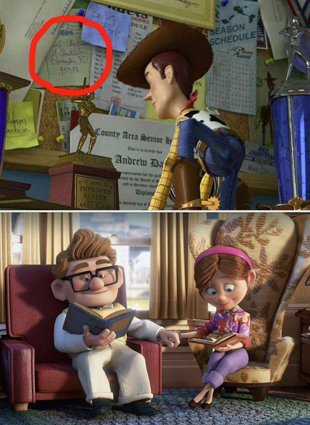 26. Toy Story 3 filmindeki panoda Up filminin karakterleri Ellie ve Carl'dan bir not var!