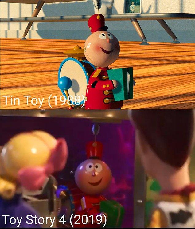 30. Pixar'ın ilk projelerinden biri olan Tin Toy (1988), Toy Story'de yine karşımıza çıkıyor.
