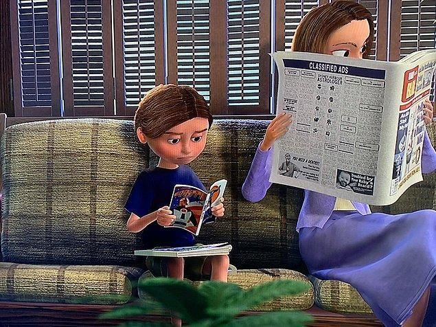 32. Kayıp Balık Nemo filmindeki bu çocuk, İnanılmaz Aile filmi çıkmadan önce çizgi romanını okurken görülüyor.