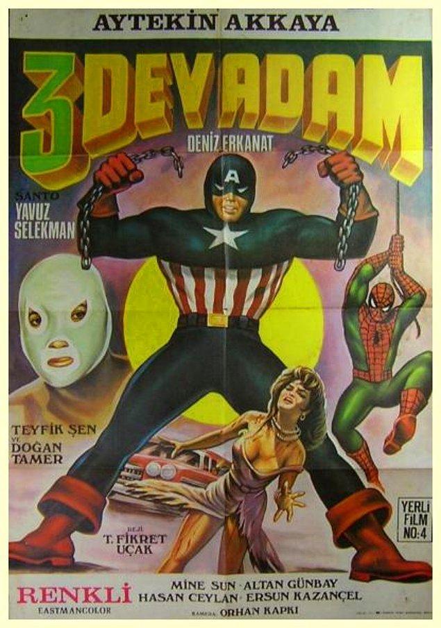 """4. Süper kahraman filmlerinin en acayiplerinden biri """"3 Dev Adam""""."""