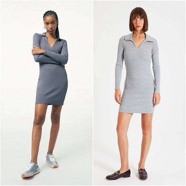 6. Zara'da 160 TL olan polo yaka elbise, Trendyol'da 70 TL, koşun kızlar!😍