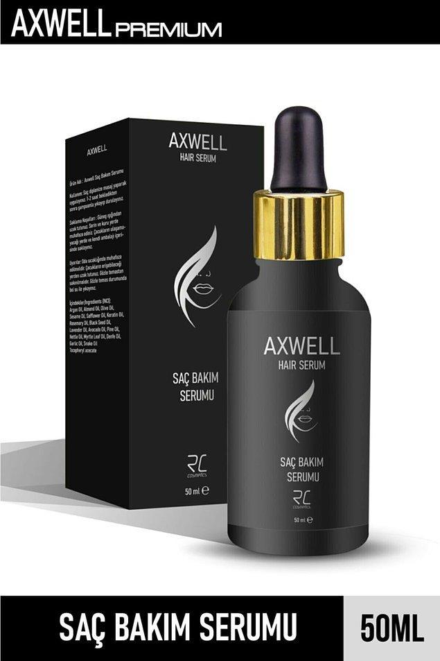 12. Daha uygun fiyatlı bir saç serumu istersen Axwell saç dökülmelerine karşı onarıcı bakım serumunu deneyebilirsin.